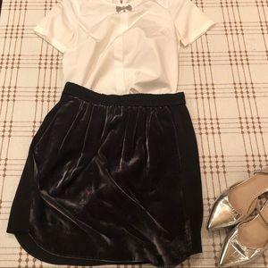 J Crew Velvet Panel Black Skirt Size 4 EUC